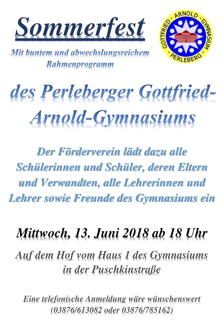 Plakat Sommerfest GAG 2018